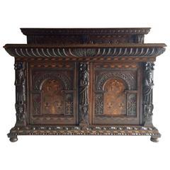 Rare 16th Century Sideboard Buffet Credenza Solid Oak Elizabeth I, Dated 1576