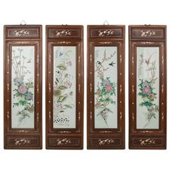 Four Large Chinese Porcelain Plaques with Rosewood and Mother-of Pearl Inlaid