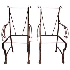 1920s, French, Wrought Iron Pair of Armchairs