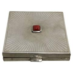 1930s Art Deco Cartier Sterling Silver Compact with Carnelian Gem Inset