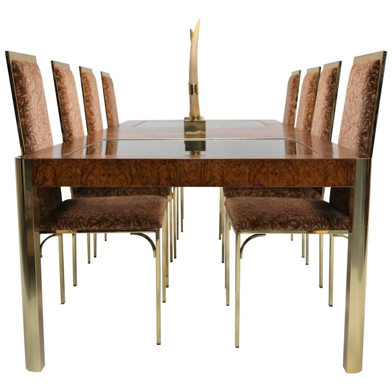 Century Furniture burlwood and brass mid century extending dining table.