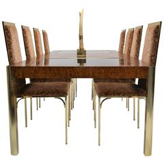 Burl, Brass & Glass, Dining Table by Century Furniture