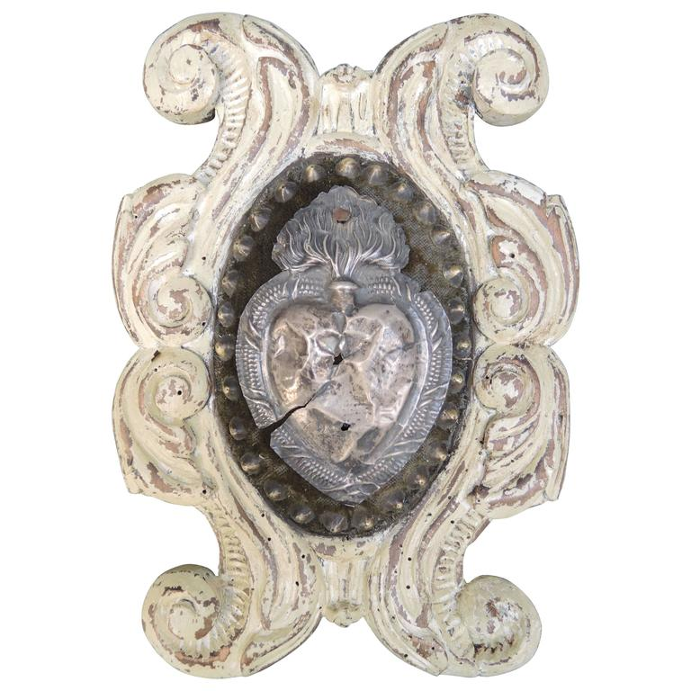 Italian Carved and Painted Cartouche Plaque with Silver Ex Voto Devotional Heart For Sale