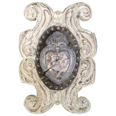 Italian Carved and Painted Cartouche Plaque with Silver Ex Voto Devotional Heart