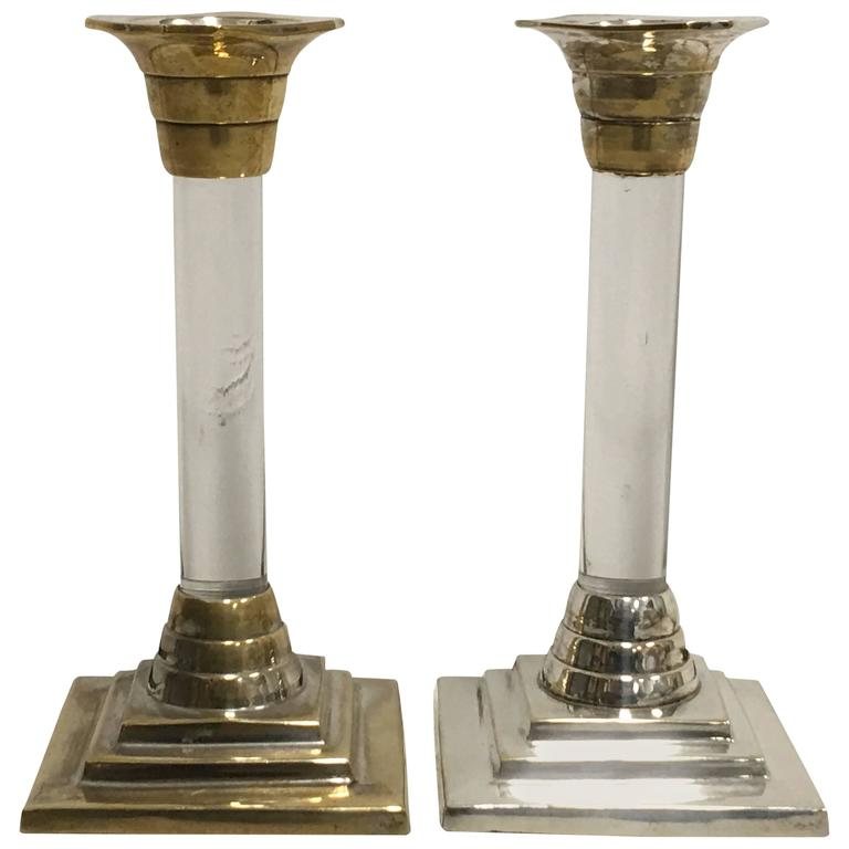 1960s Silver and Lucite Candlesticks, Pair For Sale