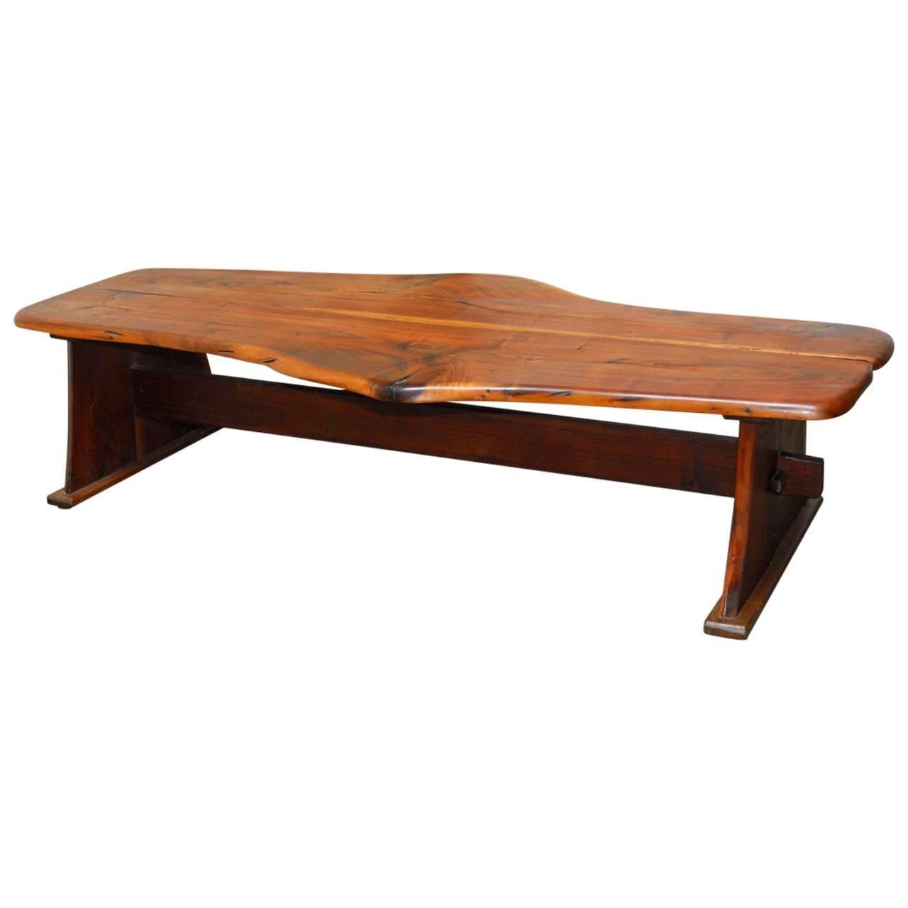 George Nakashima Inspired Natural Edge Walnut Bench Coffee Table