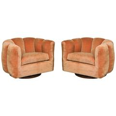Pair of Milo Baughman Swivel Tufted Armchairs