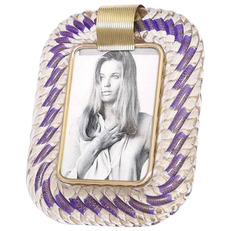 Venini 'Torciglione' Murano Glass Photo Frame with Blue Ribbon and Gold Flakes