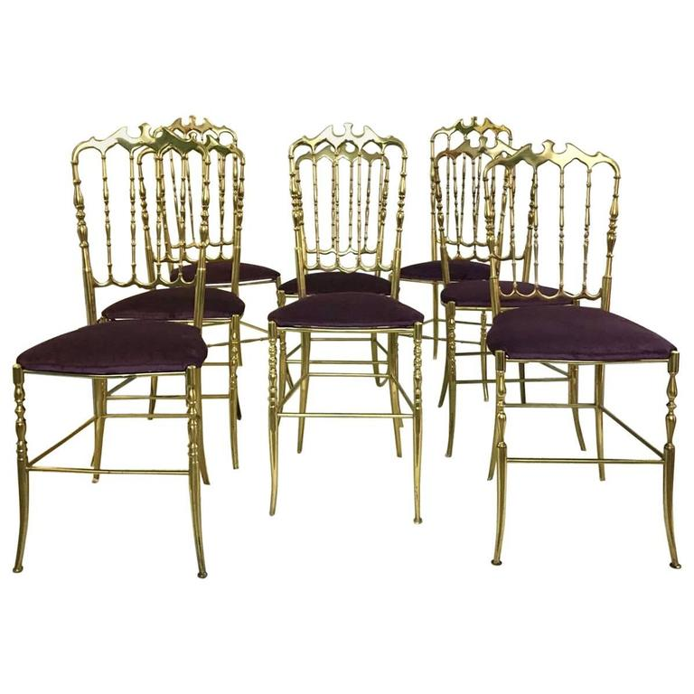 Set Of 12 Polished Gilt Brass Chiavari Ballroom Chairs For Sale