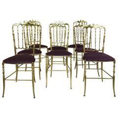 Set of 12 Polished Gilt Brass Chiavari Ballroom Chairs