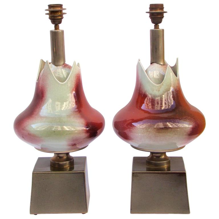 1960s French Porcelain Pair of Table Lamps