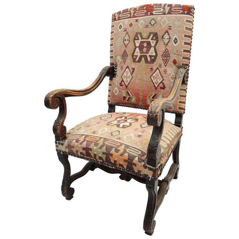 Beau 19th Century French Louis XIV French Armchair Upholstered In Kilim Carpet  For Sale