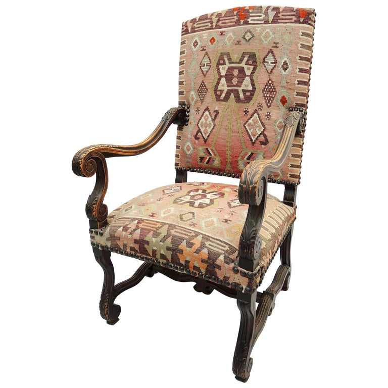 19th Century French Louis Xiv French Armchair Upholstered In Kilim