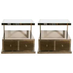 Pair of Nickeled and Mirrored Nightstands by Michel Pigneres, 1970