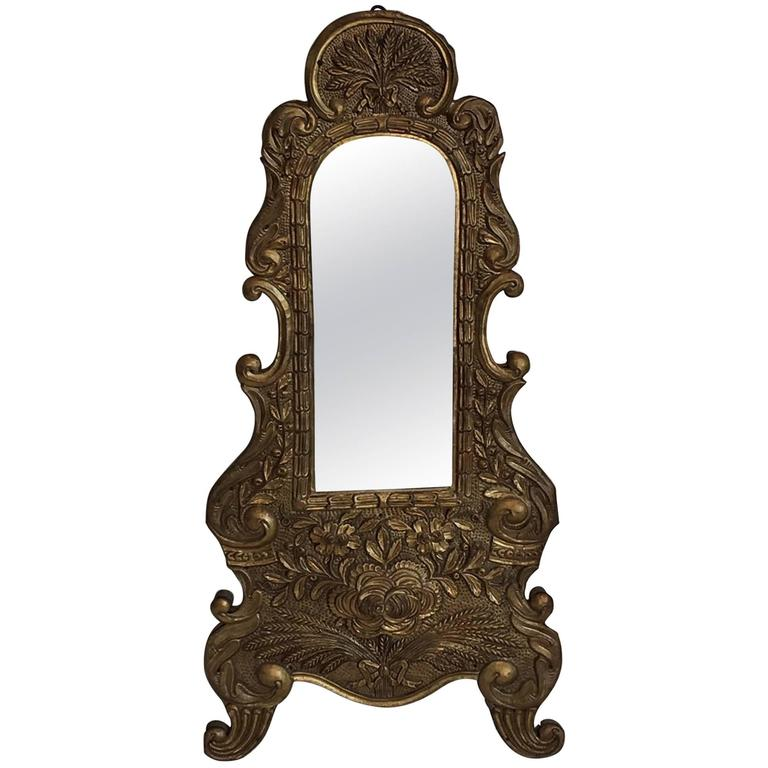 Antique German Baroque Wall Mirror Wood And Copper For
