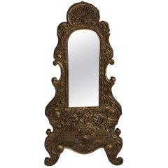 Antique German Baroque Wall Mirror Wood and Copper