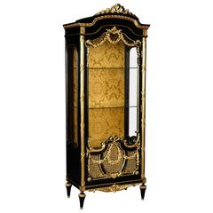 20th Century Louis XVI Style Black Piano French Vitrine