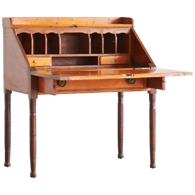 Antique Pine Drop Leaf Secretary Or Desk For