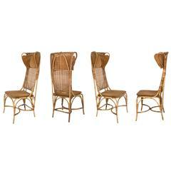 Josef Frank Set of Four Rattan Chairs Manufactured, Svenskt Tenn, Sweden, 1940s