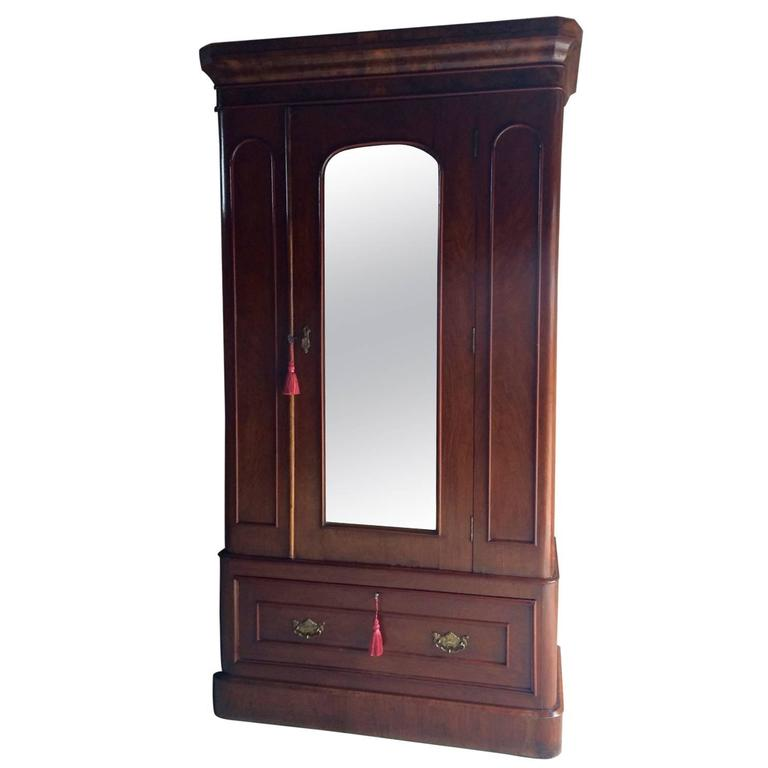 Antique Wardrobe Armoire Single Walnut Mirror Fronted Victorian, circa 1870  For Sale - Antique Wardrobe Armoire Single Walnut Mirror Fronted Victorian