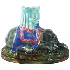 19th Century English Majolica Elephant Candlestick Joseph Holdcroft