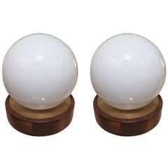 Pair of French 1950s Brass and Opaline Glass Globe Lamps