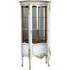 20th Century Louis XV Style White Salon Vitrine