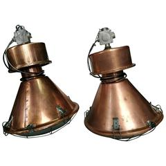 Set of ndustrial European Big Original Vintage Copper Pendant Lights