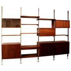 George Nelson Four Bay Walnut Aluminum Omni Wall Shelf Unit