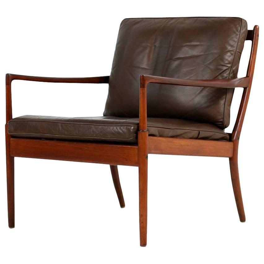 "1960s Ib Kofod Larsen Lounge Easy Chair ""Samsö"" Brown Leather OPE, Sweden"