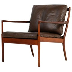 "1960s Ib Kofod Larsen Lounge Easy Chair ""Samsö"" Brown Leather OPE, Sweden"