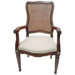 Early 19th Century Dutch Louis XVI Armchair with Cane Woven Back