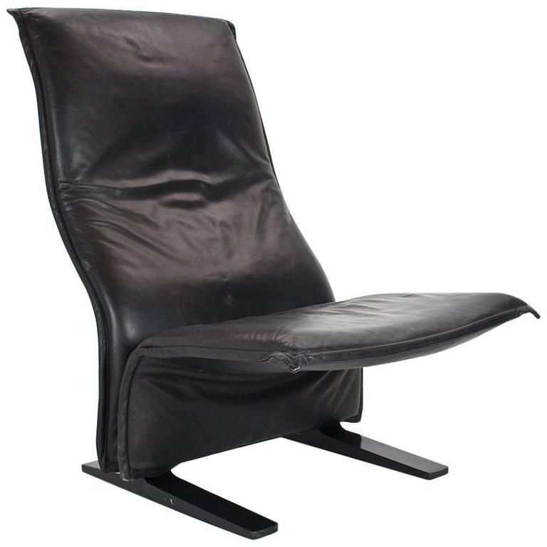 1966 Black Leather Concorde (F784) Lounge Chair by Pierre Paulin for Artifort