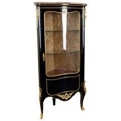 20th Century Louis XV Style Piano-Black Corner Vitrine