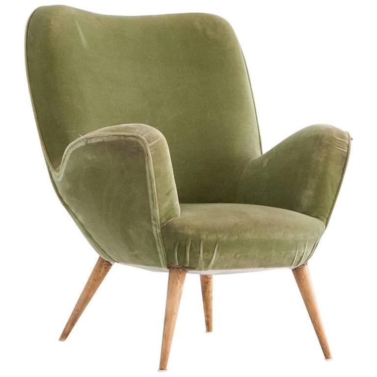 Italian Mid-Century Velvet Armchair, 1950s