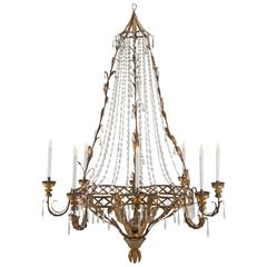 Italian 18th Century Crystal and Gilt Metal Eight-Light Venetian Chandelier
