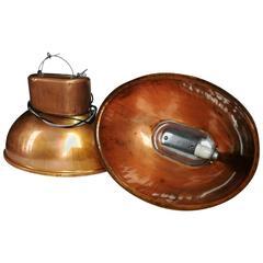 Set of Industrial Vintage European Originall Big Pendants in  Copper colour.