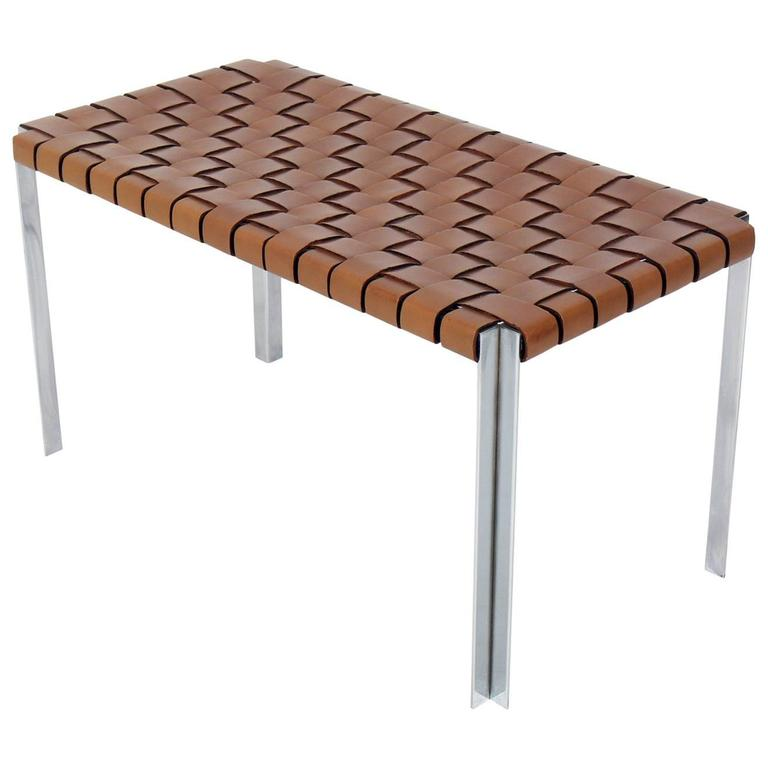 Woven Cognac Leather and Chrome Bench Designed by Erwin & Estelle Laverne