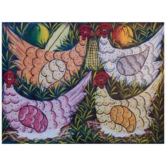 Haitian Folk Art Painting with Chickens by Sisson Blanchard