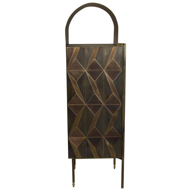 Marque Dry Bar, Contemporary Inlaid Metal Cabinet