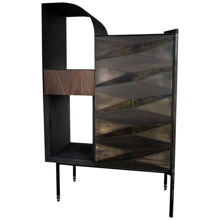 Marque' Console, Contemporary Inlaid Metal Cabinet Sideboard