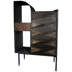 Marque' Console, Contemporary Inlaid Metal Cabinet Sideboard
