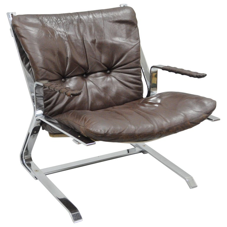 Pirate Lounge Chair Brown Leather & Chrome by Elsa & Nordahl Solheim for Rykkin For Sale