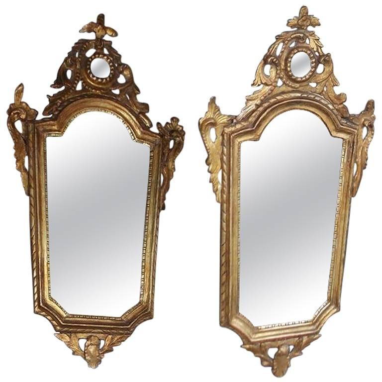 Pair of Italian Gilt Carved Wood Foliage Wall Mirrors, Circa 1810 For Sale