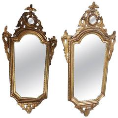 Pair of Italian Gilt Carved Wood Foliage Wall Mirrors, Circa 1810