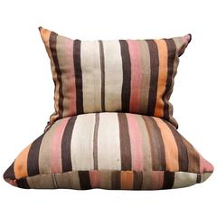 Large Vintage Moroccan Kilim Floor Pillows with Striped Design