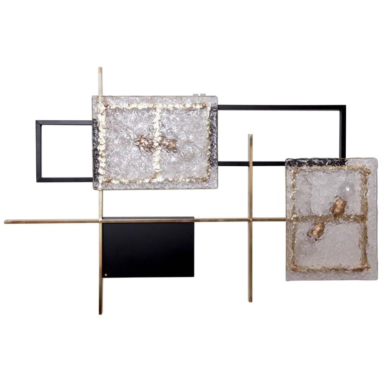 Murano Glass Wall Lamps : 1 of 4 Very Huge Brass Und Murano Glass Wall Lamp or Sconce Sculptures For Sale at 1stdibs