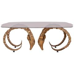 Brass and Glass Ram's Head or Ibex Coffee Table in the Style of Alain Chervet