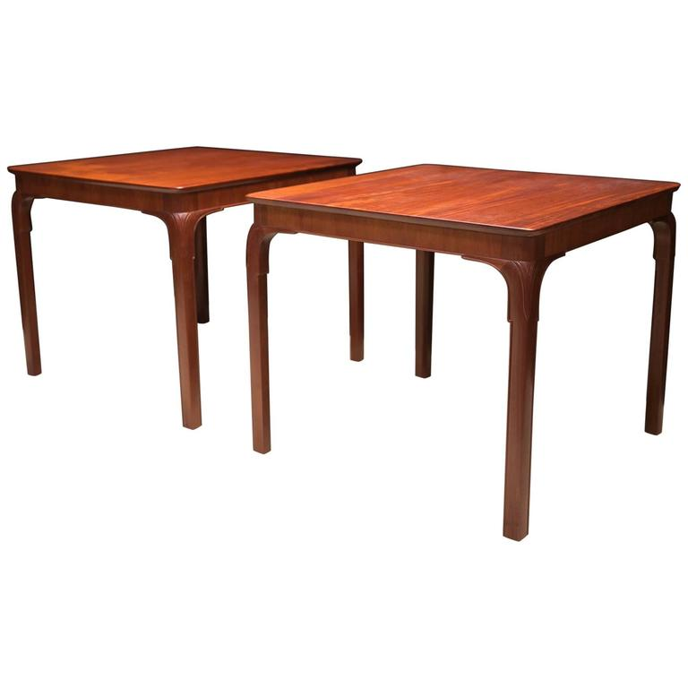 Frits Henningsen's Monumental Side Tables, Solid Cuban Mahogany and Carved Legs For Sale