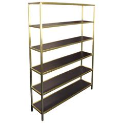 Tall Brass Etagere with Stained Walnut Shelves